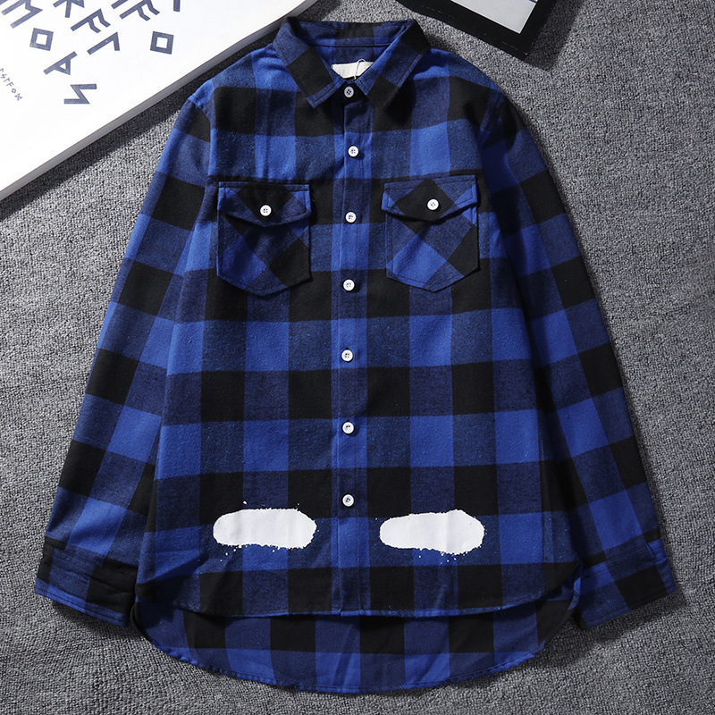 European And American Streets Off Popular Brand Ow Black Plaid White Long Sleeve Shirt Men's Loose-Fit High Street Couples Xi Ha