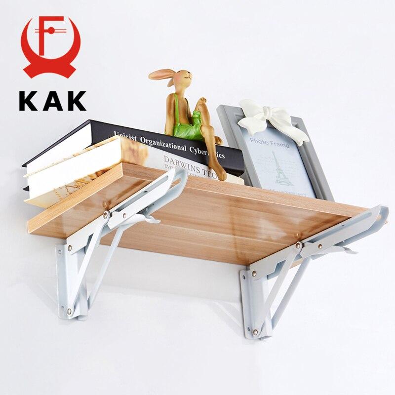 KAK 2PCS Triangle Bracket Heavy Folding Shelf Support 65KG Adjustable Wall Mounted Bench Table Shelf Bracket Furniture Hardware