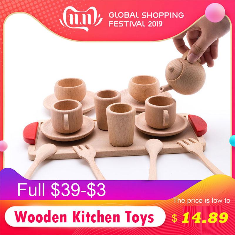 Детские игрушки для резки фруктов и овощей, деревянные кухонные игрушки, ролевые игры, мини-набор чашек для чая и кофе из массива бука