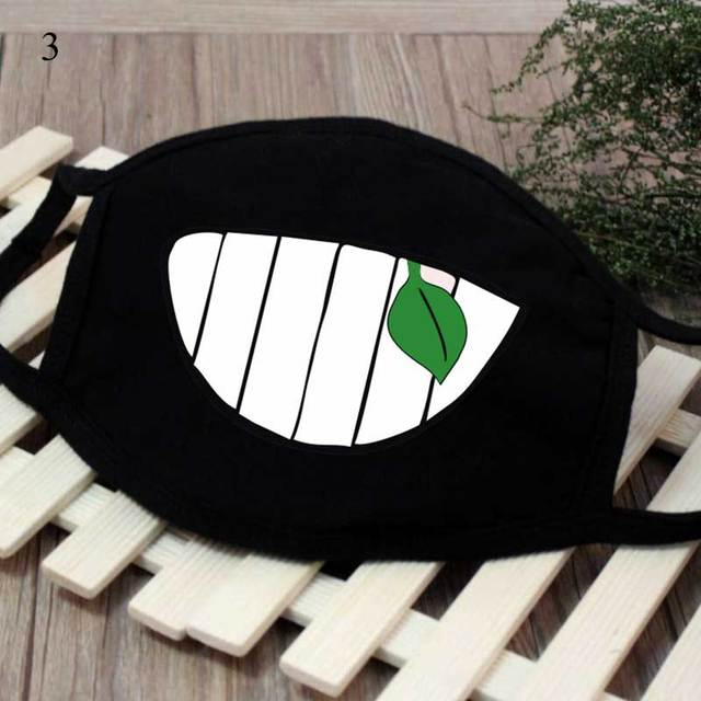 New Cartoon Black Kpop Anime Mouth Mask Cotton Lucky Bear Tooth Women Men Muffle Face Mouth Masks Windproof  Masks Resuable Mask 2