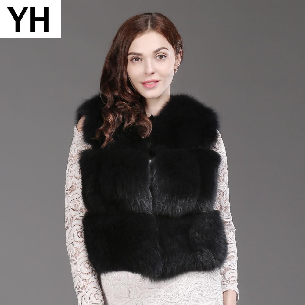 Mulheres Moda Real Fox Fur Vest 100% Natural Fox Fur Colete Macio 2019 Novo Outono Inverno Quente Senhora Curto Genuína colete de Pele De raposa