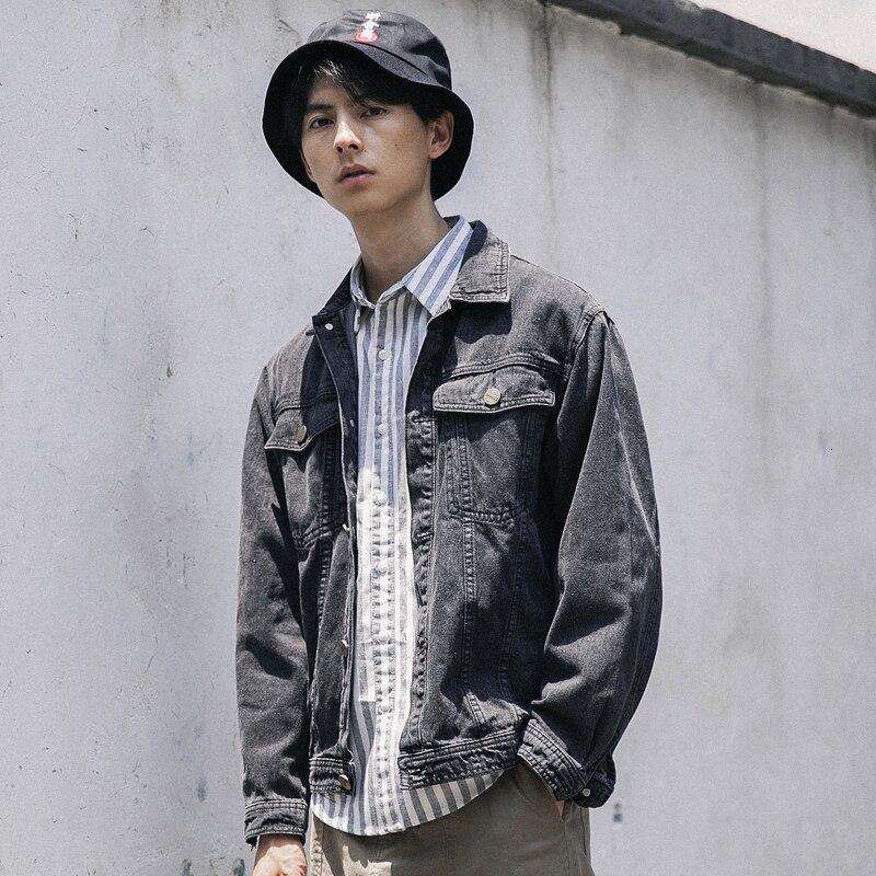 Осенняя джинсовая мужская приталенная Модная Повседневная джинсовая куртка в стиле ретро, мужская уличная куртка-бомбер в стиле хип-хоп
