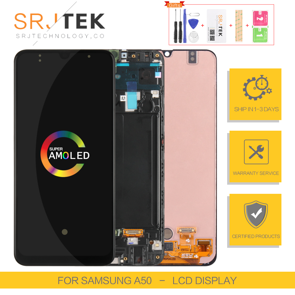 AMOLED Screen For <font><b>Samsung</b></font> <font><b>Galaxy</b></font> <font><b>A50</b></font> <font><b>LCD</b></font> Touch Digitizer Sensor Glass Assembly For <font><b>Samsung</b></font> <font><b>A50</b></font> Display A505 Frame A505F A505FD image