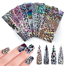 10pcs Leopard Nail Foil Stickers Laser Clear Holo Slider On Nails Shimmer Metal DIY Decal Tips Wraps Decoration Manicure BE2001
