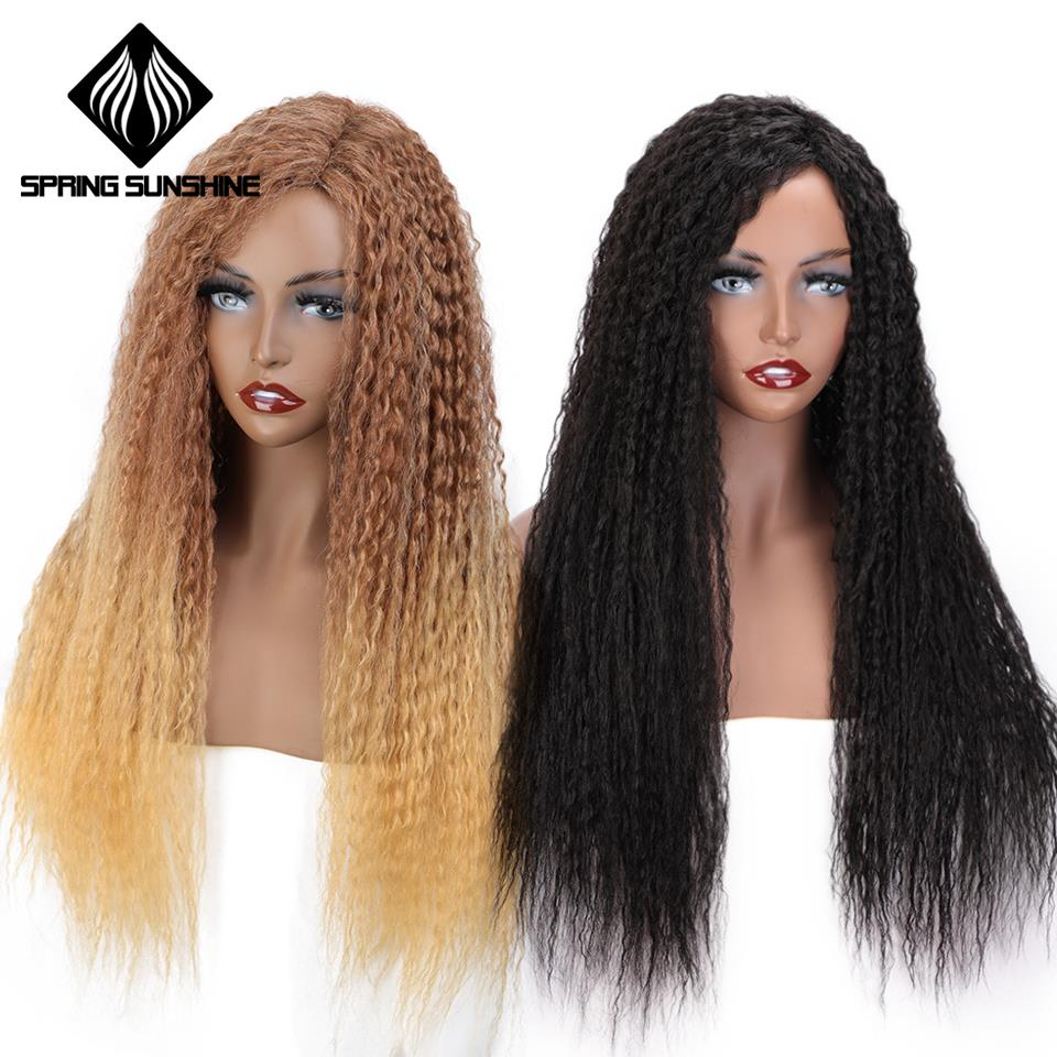 Spring Sunshine Synthetic Kinky Curly Long Wigs Black Ombre Blonde Brown Cosplay Party Wig For Black Women