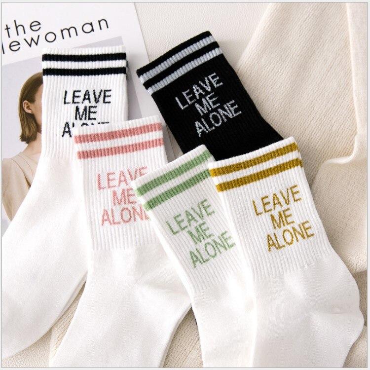 Meias femininas meias com letras, meias casuais, listradas, moda primavera e verão