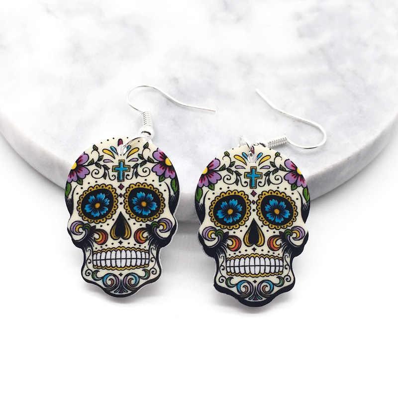 頭蓋骨のイヤリング Calavera 甘い-甘い気まぐれな祝うメキシコ日ハロウィンアクリル砂糖頭蓋骨のイヤリング女性のための 4 色