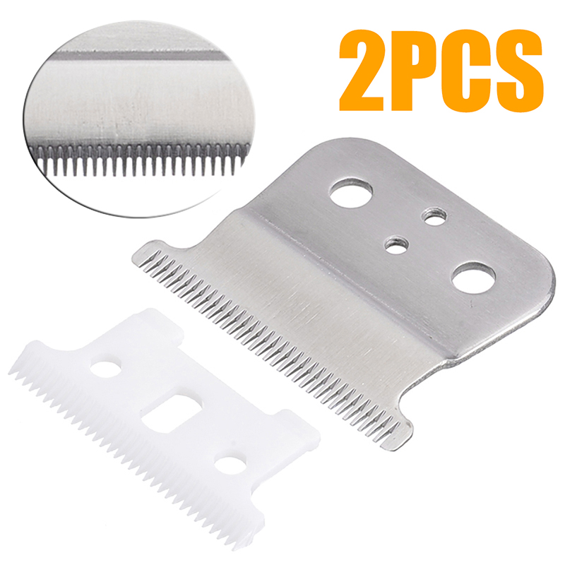 2pcs/set New Hair Clipper Ceramic Blade Cutter + Silver Metal Bottom Cutter For Andis Shear Pet Products Dog Hair Clipper image