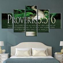 Moderne Stijl Bijbelvers Op Multi 5 Stuks Canvas Spreuken Poster Print Decor Wall Art Pictures Interieur Thuis Slaapkamer Decoratie