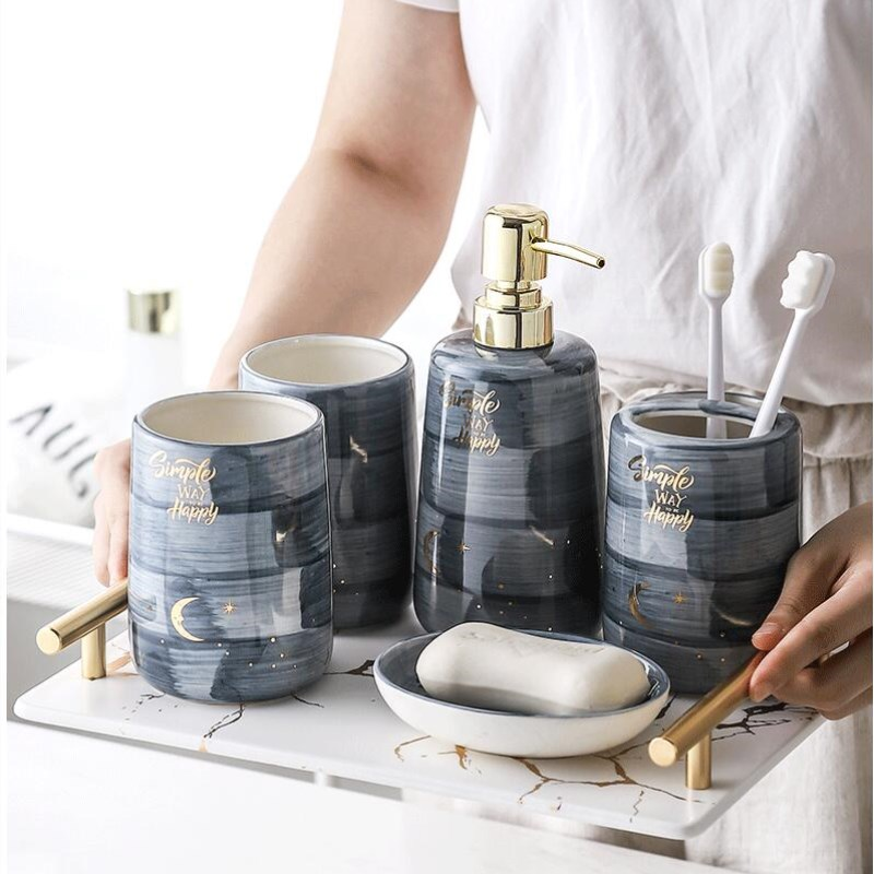 Bathroom Sanitary Ware Set Ceramic Washing Suite Tooth Brush Holder wash Cup Soap Dispenser Toothbrush Holder Household Articles