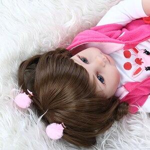 Image 4 - NPK 48CM popular full body soft silicone bebe doll reborn baby girl in the giraffe dress set Christmas Gift neborn baby