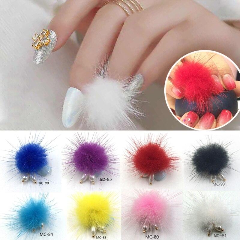 5pcs Fluffy Plush Ball 3D Nail Art Decorations Soft Pom Poms Magnetic Pendant Jewelry Ornament DIY Manicure Accessories 16 Color