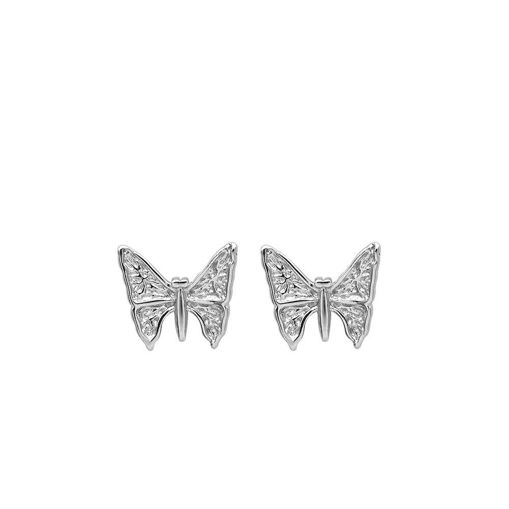 Simple female butterfly earrings s925 sterling silver earrings temperament small clear butterfly earrings trend jewelry