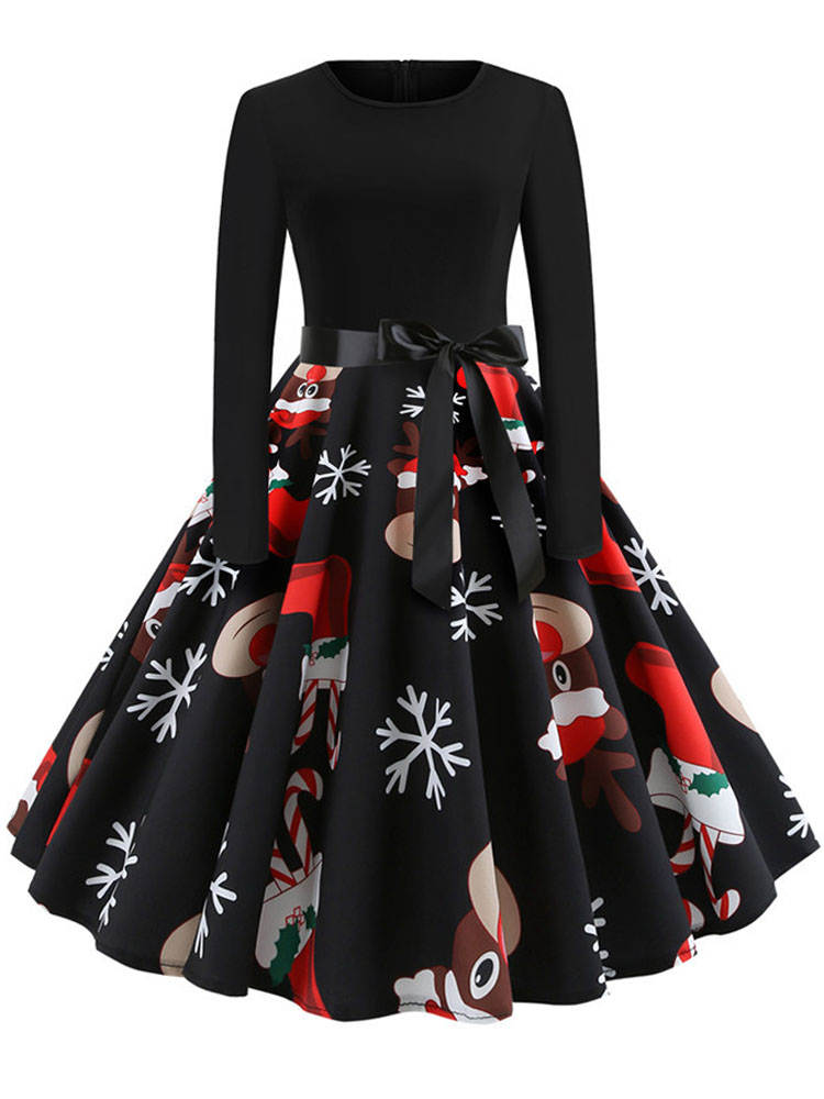 60S Vintage Robe Christmas-Dresses Pinup Swing Long-Sleeve Print Black Elegant Winter