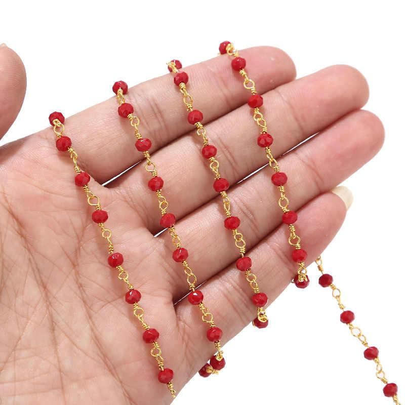 5 metrów mosiężny różaniec ozdobiony paciorkami łańcuch 4mm niebieski czerwony czarny biały cyjan koraliki drut owinięty łańcuszek pozłacany 18K