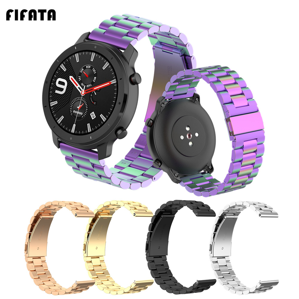 FIFATA Metal Band Strap For Huami Amazfit GTR 47/42mm Bracelet Watchbands For Xiaomi GTS BIP Pace Stratos 3/2/2S/1 Wrist Strap