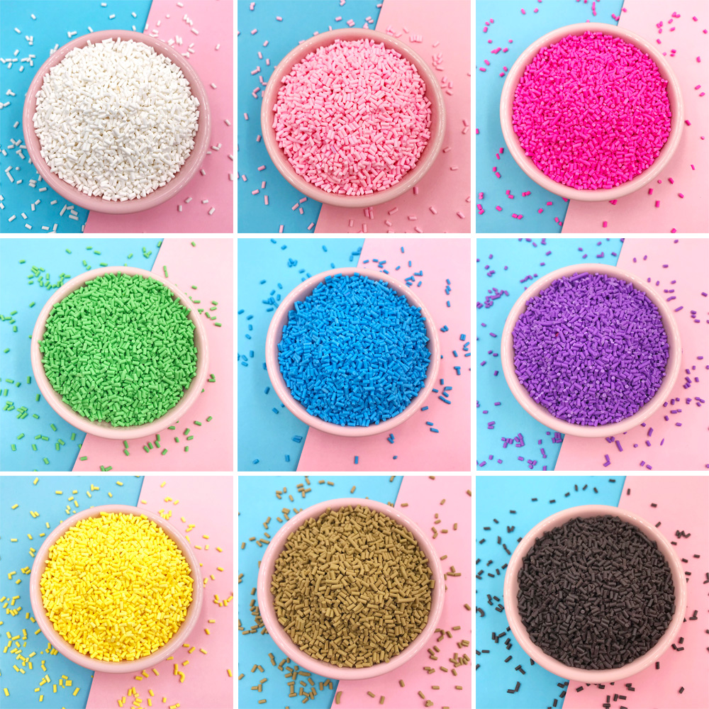 100g/lot Short Cylindrical Fimo Clay Sprinkles Fake Cake Decoration Accessories Soft Clay Sprinkles For Slime DIY Nail Art Craft