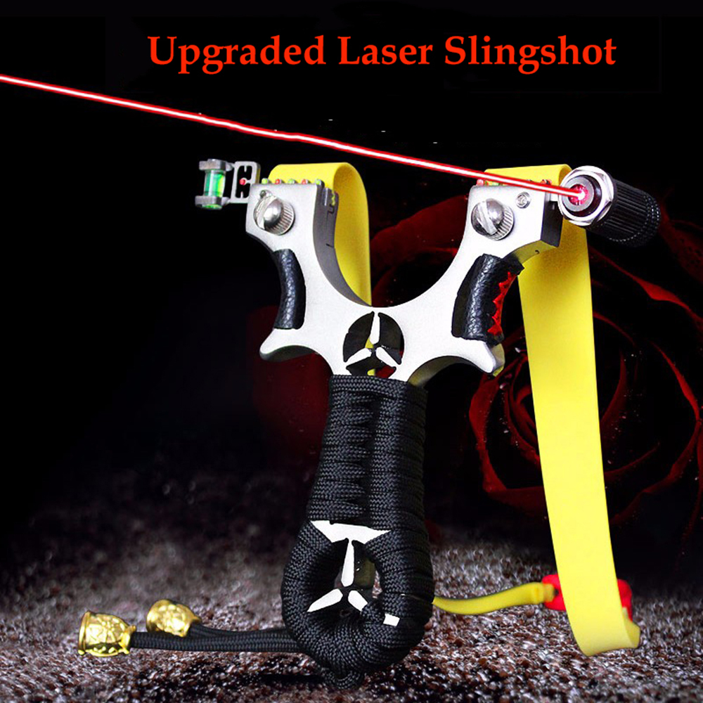 Toparchery Stainless Steel Slingshot With Rubber Band Laser Slingshot For Hunting Powerful Slingshot Catapult Target Shooting