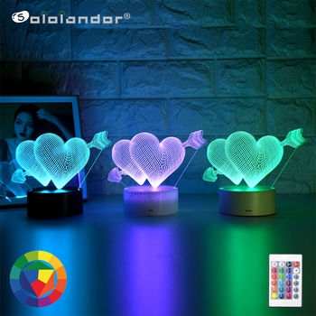 Kid Light Night 3D LED Night Light Creative Table Bedside Lamp One arrow through the heart light Kids Gril Home Decoration Gift the journey to decorative the west q version monkey led night light king sun wukong golden cudgell kid cartoon 3d lamp optica