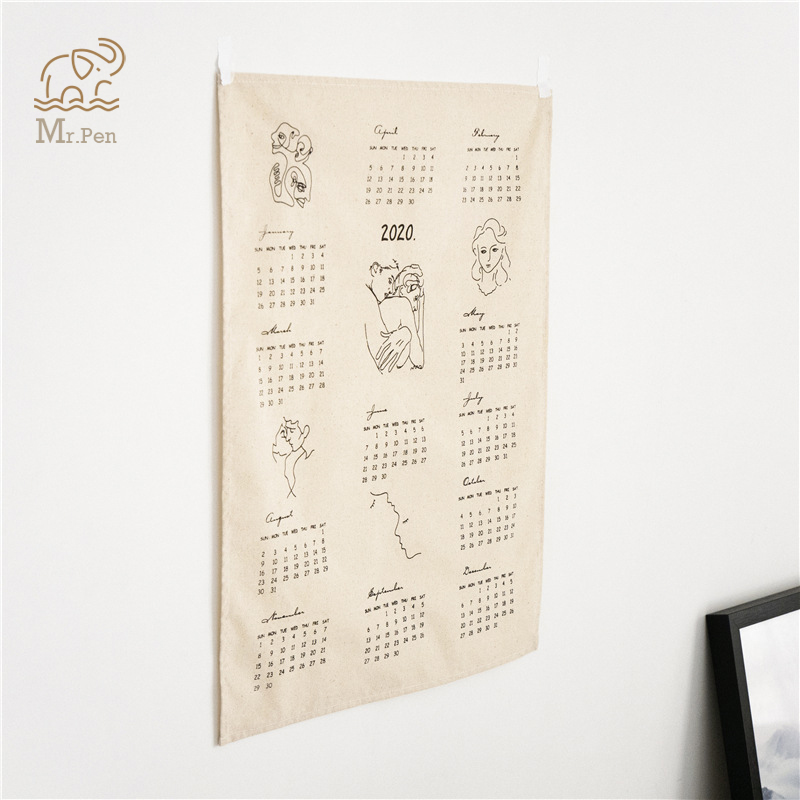 <font><b>2020</b></font> Office Vintage <font><b>Calendar</b></font> Cafe Wall Decorative Rustic Ornaments DIY Cotton Abstract Print Calenda Photo Background Cloth image