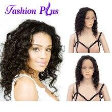 전체 레이스 인간의 머리 가발 여성을위한 짧은 인간의 머리 자연 색상 느슨한 웨이브 브라질 레미 인간의 머리가 발 150% 밀도