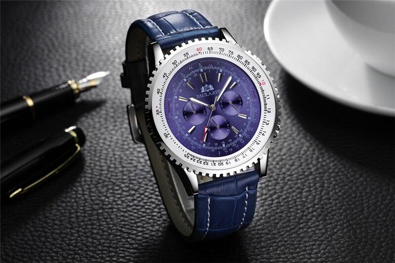 azul couro genuíno masculino relógio esportivo marca