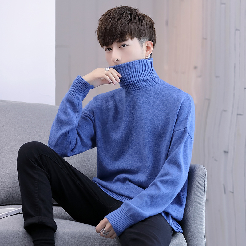 Men Sweaters Black Red Blue Pullovers Turtleneck Sweater Men Warm Sweater Casual Mens Fall Sweater