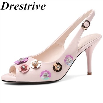 Drestrive Women's Sandals Patent Leather Flower Peep Toe Buckle Thin Heels 8 cm 2020 Summer High Heel Shoes Sequins Size 43