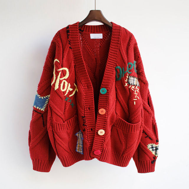 2020 Autumn Winter Women Cardigan Warm Knitted Sweater Jacket Pocket Embroidery Fashion Knit Cardigans Coat Lady Loose Sweaters 4