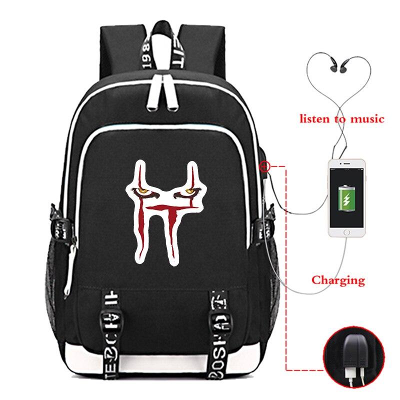 Nouveauté It chapitre deux décontracté femmes homme sac à dos toile sac d'école adolescentes garçons USB charge sacoche pour ordinateur portable Mochila