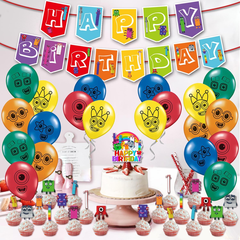 1 комплект Numberblocks вечерние поставки номер блоки латексные шары с днем рождения баннер овсянка торт топпера, воздушный шар мальчик девочка и...