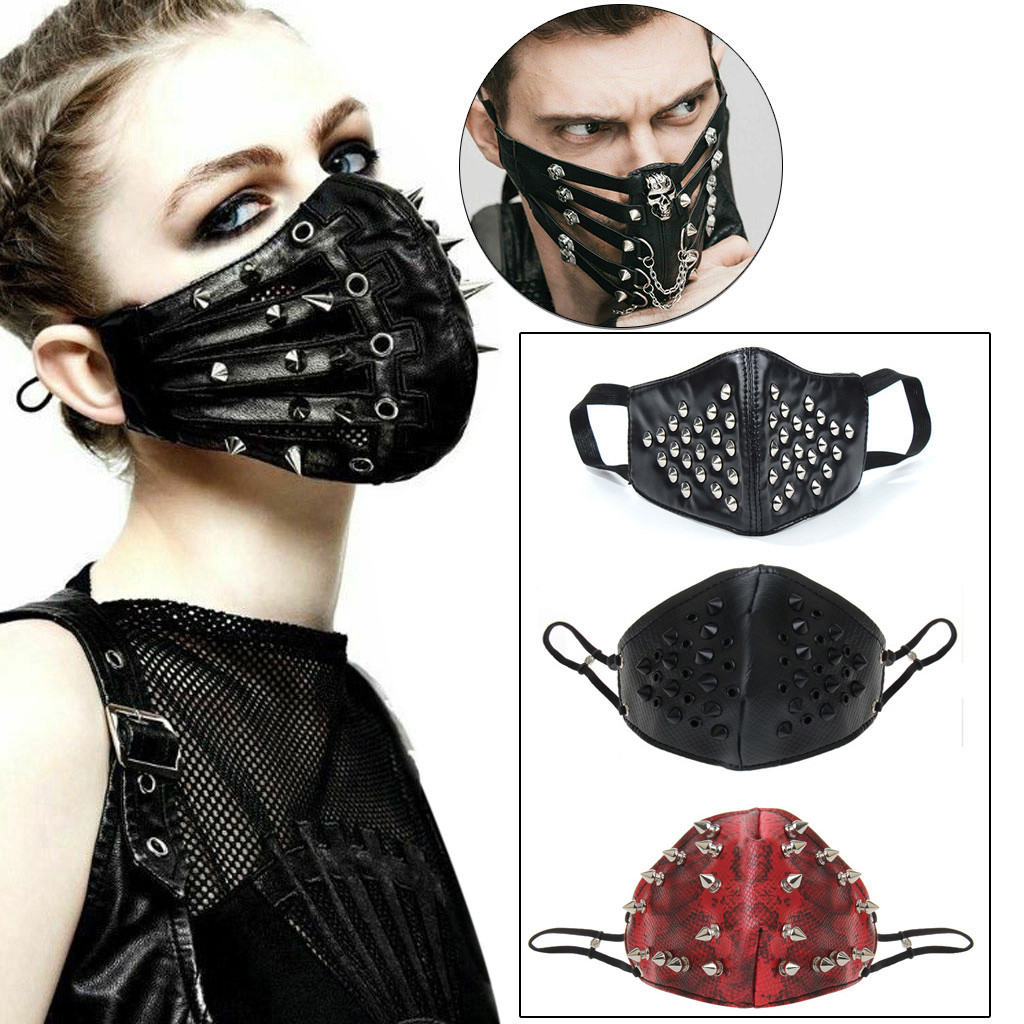 Punk Black Unisex Motorcycle Punk Hallowin Cosplay Style Metal Cool Mask Kpop маска Mask маски маска на рот Mouth Face Mask