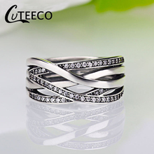 Hight Quality Silver Sparkling Braided Pave Pan Ring For Women Wedding Luxury Exaggerated Big Twisted Jewelry