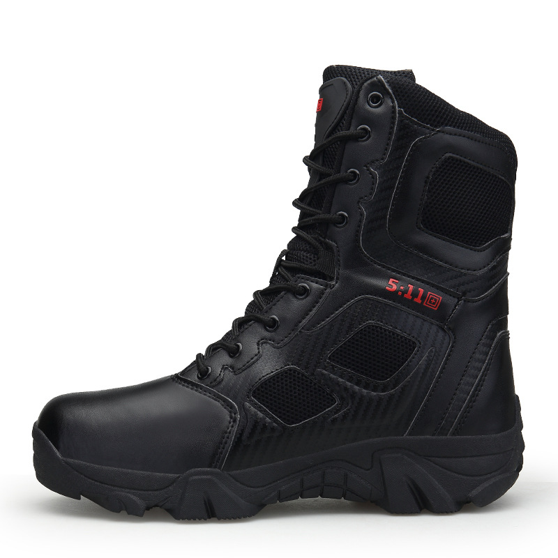 2018 New Style Combat Boots Fashion Leather Comfortable Anti-slip Wear-Resistant Shock Absorption Combat Mountain Climbing Tacti