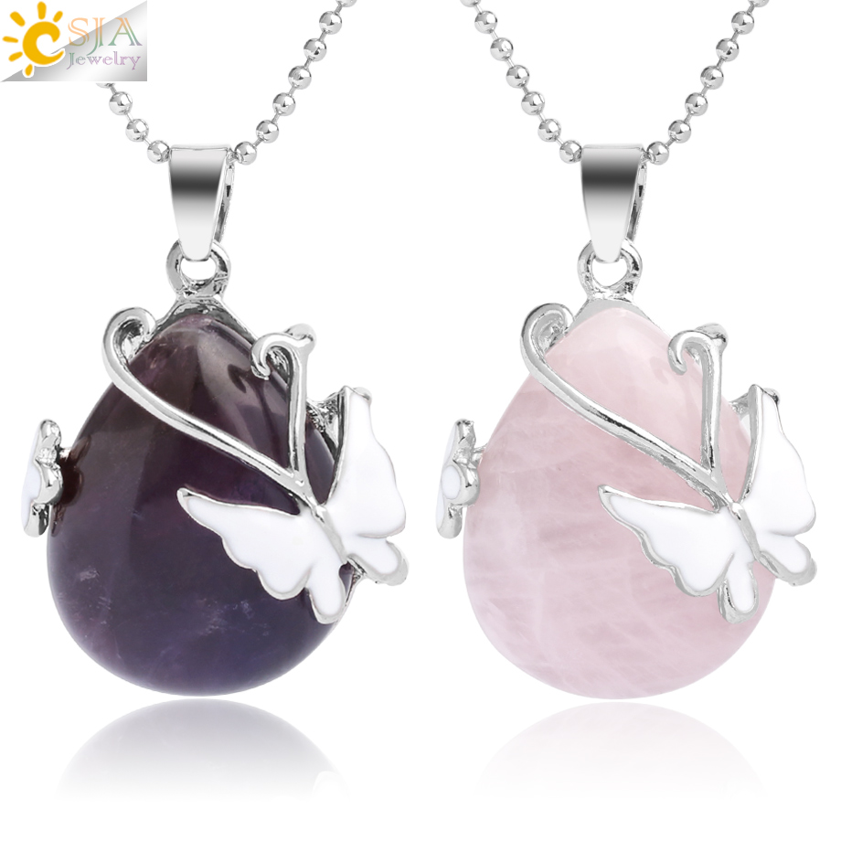 CSJA Water Drop Natural Stone Pendant Pink Quartz Purple Crystal Tiger Eye Butterfly Flower Pendants Necklace for Women Men G082
