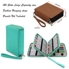120 Slot Portable Colored Pencil Case Holder Waterproof Large Capacity PU Leather Pencil Bag For Student Gifts Art Supplies 120 slots pencil case large capacity travel portable colored pencil holder pen zipper bag pouch for artist students stationary