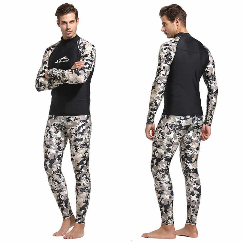 Mannen 'Rash Guards Shirt en Leggings Surfen Zwemmen Bluse & Panty Basic Dive Skins Wetsuit Lange Mouw UPF50 + Rashguard camo