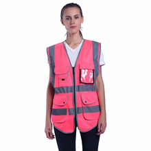 Jacket Vest Workwear Hi-Vis Sleeveless Reflective-Safety-Vest Women Pink Summer Tank-Top
