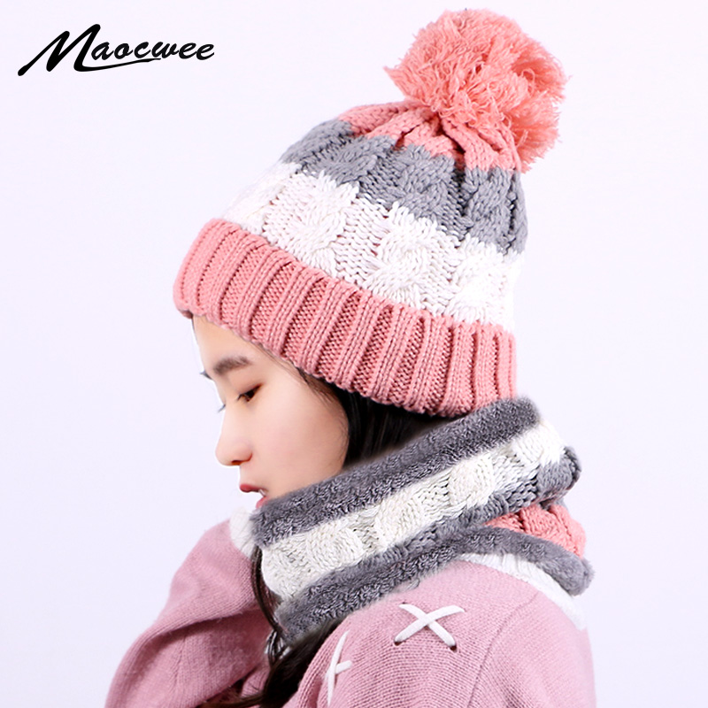Women Beanies Pompon Hat And Scarf Set Winter Knitted Fashion Casual Neck Ring Scarf Thick Warm Soft Bonnet Cap With Lining Sets