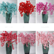 5pcs Begonia Cherry Vines Fake 130cm Long Stem Pleiopetalous Sakura Rattan for Wedding Party Home Artificial Decorative Flowers