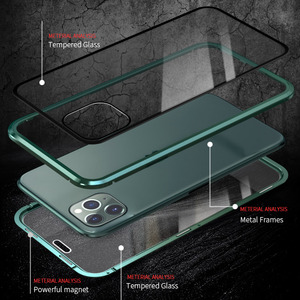 Image 4 - Double sided Glass Case for Iphone 11Pro Xs Max XR 7 8Plus Case 360 Full Privacy Protection Metal Frame Flip Cover Magnet Luxury
