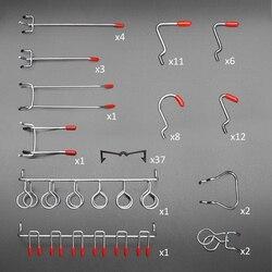 52 pçs pegboard ganchos sortimento ganchos de armazenamento em casa sistema peg board ferramenta cabide conjunto garagem cozinha oficina organizador utilitário ho
