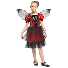Child Bat Vampire Costume for Girls Vampiress Princess Dress with Wings Halloween Purim Carnival Party Mardi Gras Cosplay