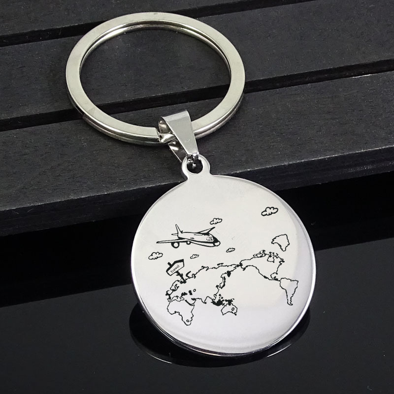 World Map Travel KeyChain Jewelry Cute Airplane Key Ring For Women Girl