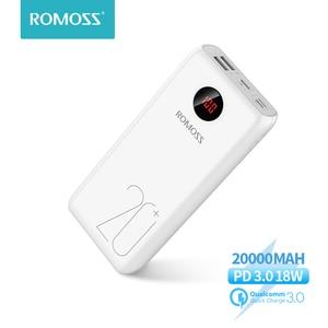 ROMOSS 20000 мАч Power Bank 18 Вт Быстрая зарядка Powerbank Тип C повербанк портативное Внешнее зарядное устройство для Xiaomi Mi для iPhone