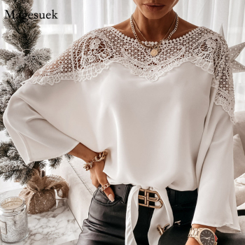 New Crochet Embroidery Lace Blouses Women Autumn Sexy Lace Stitching White Shirts Vintage Plus Size Ladies Tops Blusas 12459