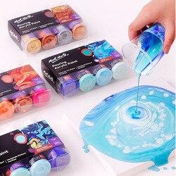 120ML פיגמנט אקריליק צבע סט נוזל Marbling צבע אקריליק לשפוך בינוני סיליקון שמן ציור סט עבור אמן DIY אמנות ספקי