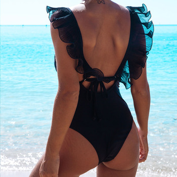 Sexy Black Ruffle Swimsuit Thong One Piece Swimwear Women 2020 Bathing Suit Backless Swimsuit Women Monokini Halter Bikini women s sexy one piece swimsuit black white halter swimsuit high cut monokini halter swimsuit bikini