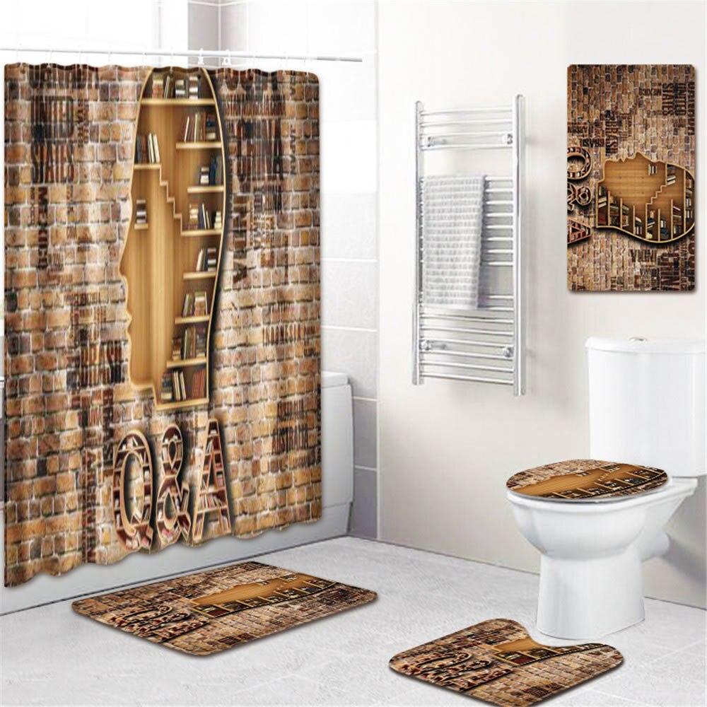 5 шт./компл. 3D занавески для душа с принтом набор водонепроницаемая ткань из полиэстера занавес для ванной комнаты ПВХ Противоскользящий коврик для ванной ковер для украшения дома - 5