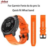 Pulseiras de silicone macio para garmin fenix 6x/6x pro 26mm largura pulseira de pulseira ajuste rápido para garmin fenix 6x/6x pro/5x acessórios|Pulseira do relógio| |  -